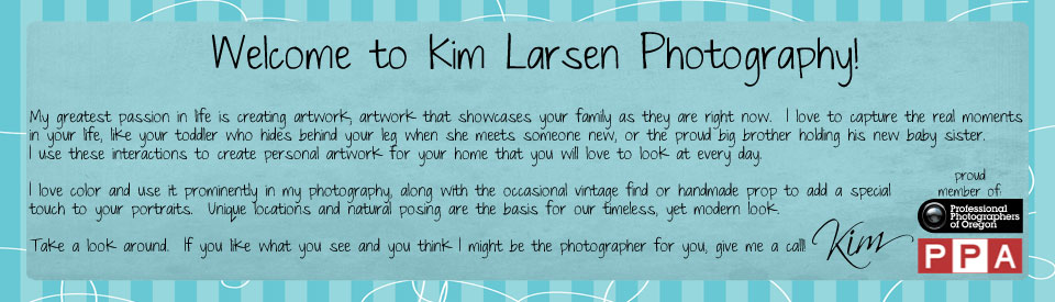 Kim Larsen Photography – Cottage Grove, Oregon Portrait and Wedding Photographer logo